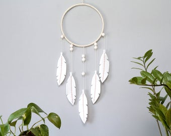 NEW! White Felt Dream Catcher for Modern Bohemian Home. White Nursery Wall Hanging.