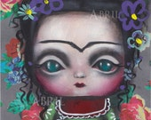 Frida Kahlo #2 Inspired Painting by Abril Big eyed art lowbrow Fantasy