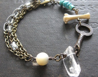 Assemblage Bracelet With Rosary Beads Mother of Pearl Turquoise and Bone