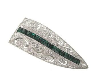 Emerald Art Deco Dress Clip, Original Antique Art Deco Rhinestone Jewelry, 1920s Statement Wedding Jewelry