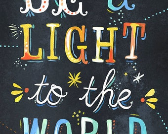Be a Light - various sizes - STRETCHED CANVAS - Katie Daisy art