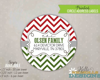 Modern Chevron Christmas Return Address Label, Custom Envelope Seal Sticker, Red and Green