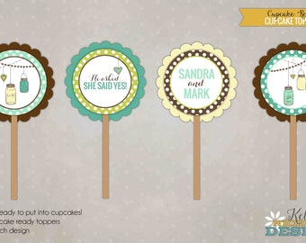 Custom Mason Jar Vintage Cupcake Toppers, Wedding Shower Decorations #S136