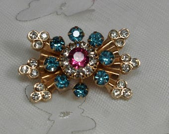 Vintage Flower Pin with Multi Color Rhinestones