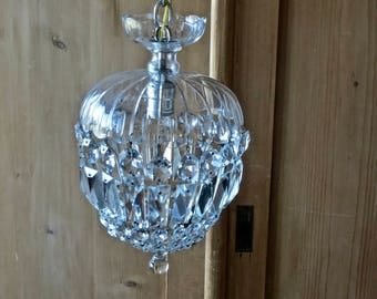 Vintage Shabby Chic Lovely....Crystal Tear Drop Hanging Chandelier