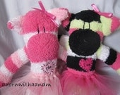 Custom order for Debbi, fuzzy sock monkey, pink monkey, sock monkey doll, sock monkey plus, personalized sock monkey