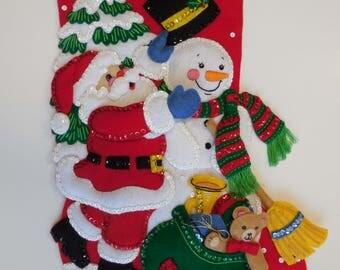 Finished Christmas Stocking - Santa and Frosty