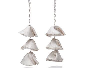 Hanging triple folding cups cast silver dangling earrings