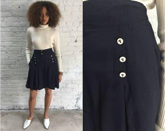 vintage navy blue nautical shorts / drapey high waist anchor button skort