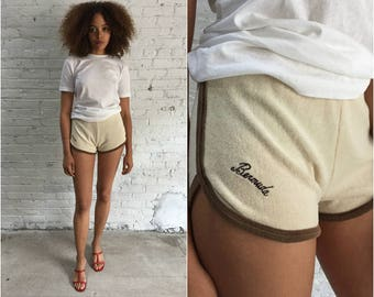 vintage cream terry cloth mini shorts / ivory Bermuda beach surfer shorts / terry running shorts