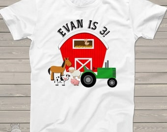 Farm birthday shirt with barn and tractor and animals - oh my - completely personalized birthday Tshirt MBD-002