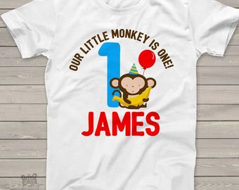 monkey first Birthday shirt -this little monkey jungle themed first birthday boy t shirt or bodysuit MBD-012