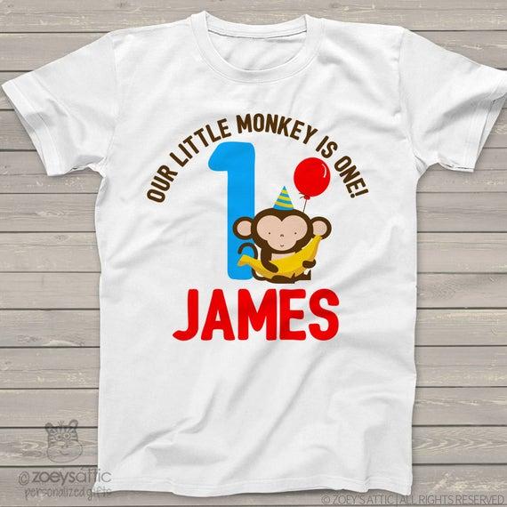 monkey first Birthday shirt -this little monkey jungle themed first birthday boy t shirt or bodysuit MBD-012