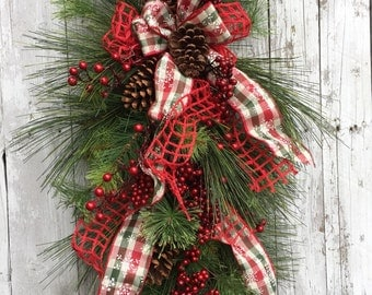 Christmas Door Swag, Front Door Teardrop Swag, Christmas Wreaths, Wreath Alternative