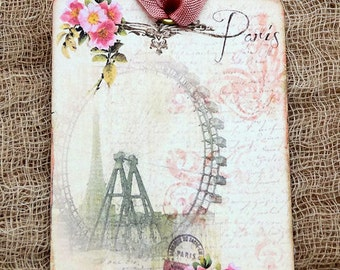 French Paris Eiffel Tower Ferris Wheel Gift or Scrapbook Tags or Magnet #400