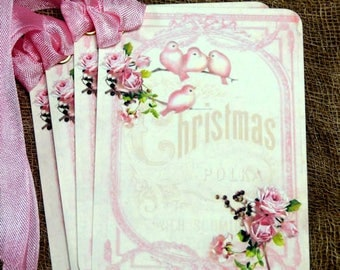 Retro Pink Bird Floral Christmas Gift or Scrapbook Tags or Magnet #158