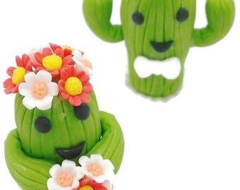 CACTUS Wedding Cake Topper, Miniature Polymer Clay Flowers Handmade Supply Cactus, set of 2 pieces