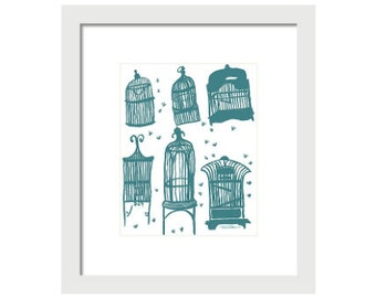 Birdcage Art Print, Teal or Blue and White Birdcage Wall Art, Bird Art, Bird Decor, Home Decor, Birds, Aviary Art, Bird Cage Painting
