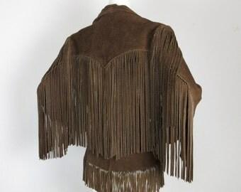 Vintage 1970s Extreme Fringed Western Leather Jacket, Womens Sz 14 / M