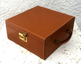 Vintage Pecan Brown Leather Travel Bar -  Holds Three Bottles, Brass Combo Lock