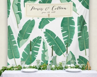 Personalized Wedding Banner, Wedding Banner, Wedding Backdrop, Step and Repeat, Banana Leaf Bridal Shower Banner/ W-G28-TP REG1 AA3