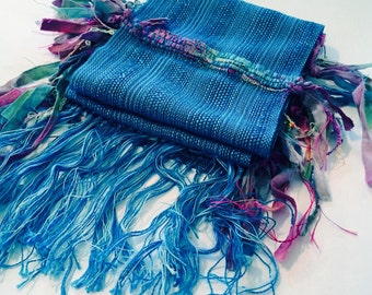 Blue Water Lilies Handwoven Scarf