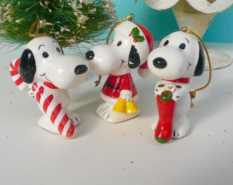 Vintage Snoopy Santa Oranments Christmas Collection Peanuts Gang
