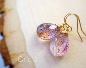Super Seven gemstone earrings, Moss Amethyst, wire wrapped, healing crystals, spiritual stones, metaphysical, Otis B, natural gems,
