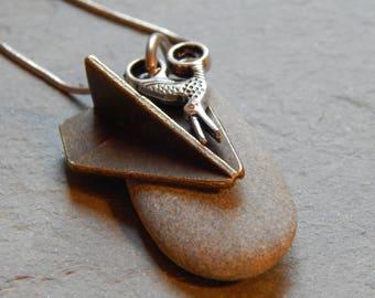 rock, paper, scissors necklace, beach stone jewelry, handmade