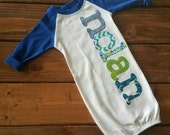 Personalized Newborn Gown Boy, Hospital Going Home Outfit, Baby Boy Gift, Deer Head, Blue, Baby Shower Gift, Newborn Outfit, Baseball Raglan
