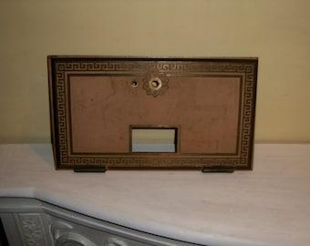 "Antique Bronze Post Office Box Door Greek Key Letters Hinged Frame Rectangle Large 11"" x 6.25"" Postal Mail Hardware"