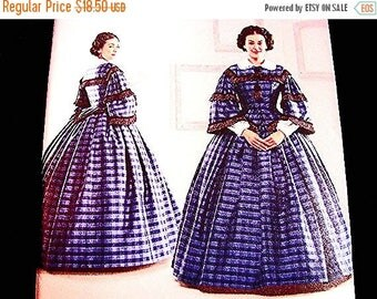 on SALE 25% OFF Historical Womens Civil War Dress Pattern Gone With The Wind Dress Costume Sewing Pattern Misses size 8 10 12 14 UNCUT