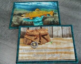 Mug Rugs Cabin Life Man Cave Decor Handmade Coasters Trivets Table Linens Cabin Decor Set of Two