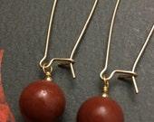 Red Jasper Earrings, Brick Red Earrings, 14K Gold Filled, Kidney Shaped Earwires, Interchangeable Earwires, Gemstone Earrings