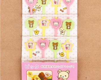 190816 Rilakkuma food picks for Bento Lunch Box bear chick Mochi