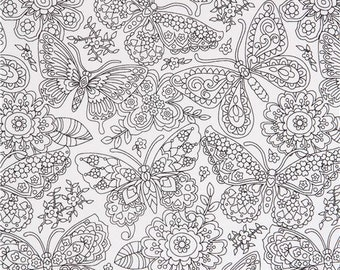207292 coloring fabric with butterfly flower by Michael Miller