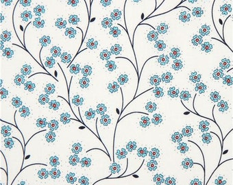 213638 light cream Michael Miller fabric turquoise flower Meadow Sweet