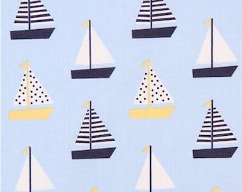 208548 light blue sail boat fabric by Dear Stella USA