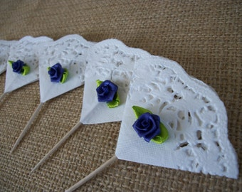 Shabby Cottage Chic Roses and Lace Cupcake Toppers Picks Purple Roses Cupcake Toppers for Birthdays, Showers, Mothers Day, Tea Parties