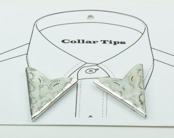 Collar Tip  THE PREACHER , etched Metal , plated silver   ,  CT123116, 2 ea