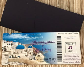 Santorini wedding invitation. Greece save the date.