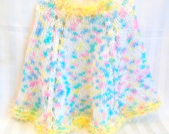 READY TO SHIP. Little Girl Poncho. White. Blue. Yellow. Pink. Turquoise. Yellow Eyelash Yarn. Knit Poncho. Knit Cape. Chilly Weather Poncho.