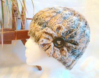 Ready to Ship. Women's Cable Hat. Winter Hat. Optional Crocheted Flower. Button.  Tan, Cream and Brown.  Beanies for Women. Tweed Stripes.