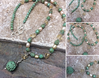 Triple Gemstone Beaded Necklace, Free Shipping, Ready to Ship, Sterling Silver, Turquoise, Topaz, Pearl & Czech Glass