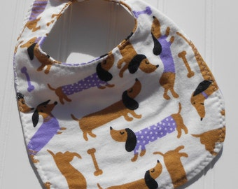 READY TO SHIP 100% cotton flannel baby bib - weiner dog print