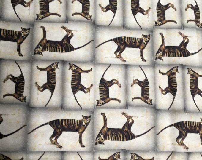 Tasmanian Tiger or Thylacine fabric collection by Cindy Watkins original design