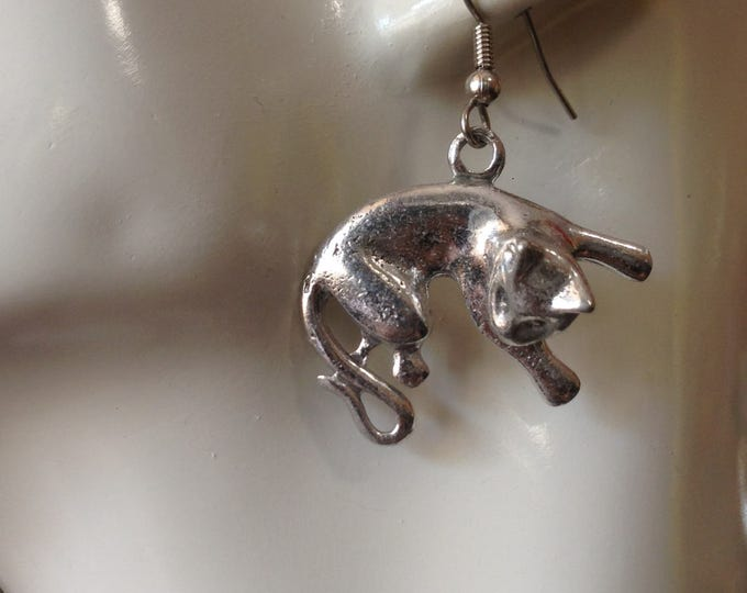 Curled cat earrings made with Australian Pewter and Surgical Steel hook