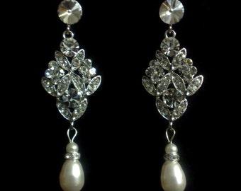 Chandelier Bridal Earrings, Art Deco Wedding Earrings, Pearl Drop Wedding Jewelry, Swarovski Crystal Bridal Jewelry, Gift for Her, DAZZLE