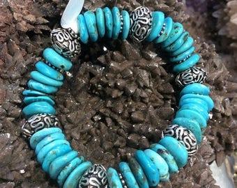 50% Mega Sale Turquoise And Sterling Silver Gemstone Bracelet - All Natural