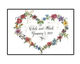 Personalized Wedding Gift, 5x7 framable art, Custom Wedding Calligraphy